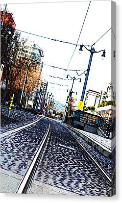 In The Path Of A Cable Car Canvas Print by Holly Blunkall