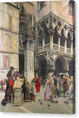 In The Piazzetta Canvas Print by William Logsdail