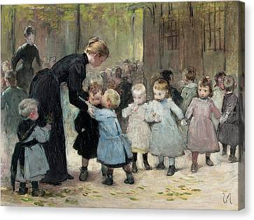 In The Playground Oil On Canvas Canvas Print by Henri Jules Jean Geoffroy