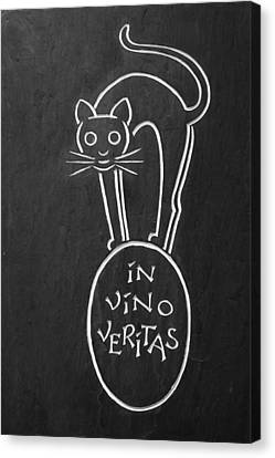 In Vino Veritas Cat Canvas Print by Sally Weigand