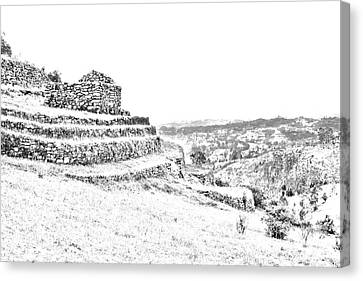 Inca Ruins On Cojitambo In Ecuador Canvas Print by Al Bourassa