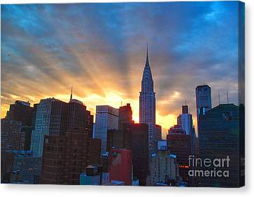 Incredible New York Skyline Sunset Canvas Print by Miriam Danar