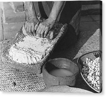 Indains Making Corn Flour Canvas Print by Underwood Archives Onia