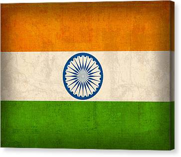 India Flag Vintage Distressed Finish Canvas Print by Design Turnpike