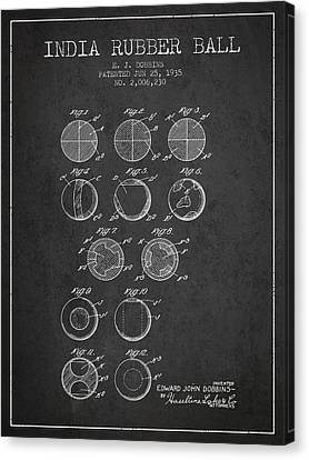 India Rubber Ball Patent From 1935 -  Charcoal Canvas Print by Aged Pixel