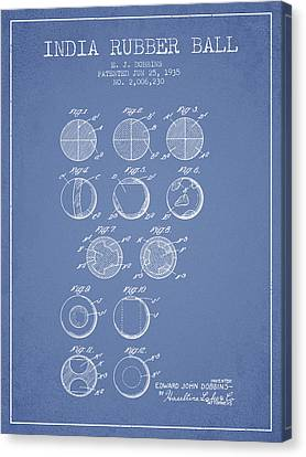 India Rubber Ball Patent From 1935 -  Light Blue Canvas Print by Aged Pixel