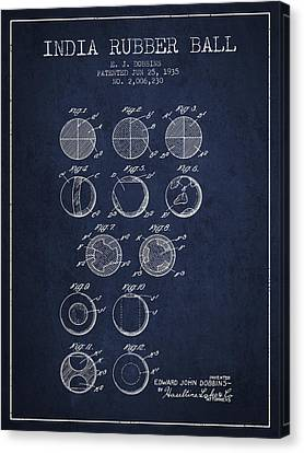India Rubber Ball Patent From 1935 -  Navy Blue Canvas Print by Aged Pixel