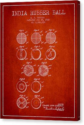 India Rubber Ball Patent From 1935 -  Red Canvas Print by Aged Pixel