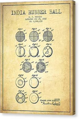 India Rubber Ball Patent From 1935 -  Vintage Canvas Print by Aged Pixel