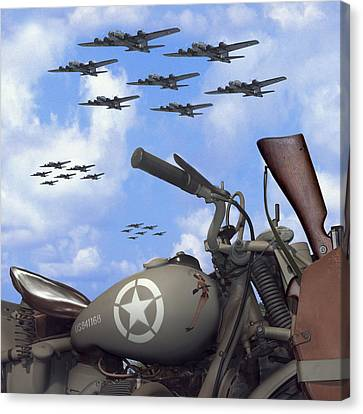 Indian 841 And The B-17 Bomber Sq Canvas Print by Mike McGlothlen