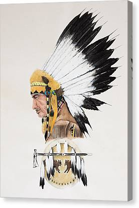 Indian Chief Contemplating Canvas Print by Joe Lisowski