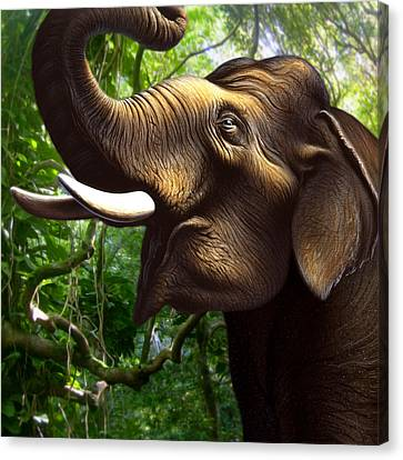 Indian Elephant 1 Canvas Print by Jerry LoFaro