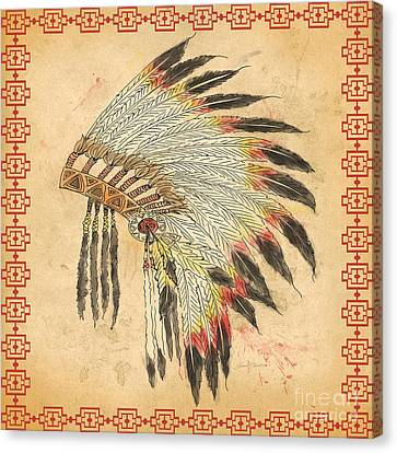 Indian Head Dress-a Canvas Print by Jean Plout