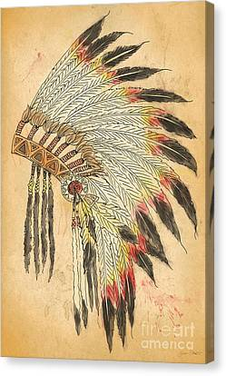 Indian Head Dress-b Canvas Print by Jean Plout