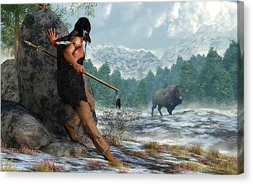 Indian Hunting With Atlatl Canvas Print by Daniel Eskridge