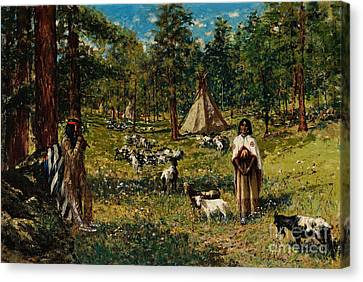 Indian Pastoral Canvas Print by Celestial Images