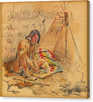 Indian Preparing A Pipe Canvas Print by Charles Marion Russell