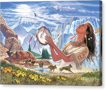 Indian Squaw And The Wolves Canvas Print by Steve Crisp
