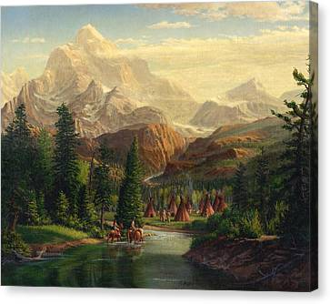 Indian Village Trapper Western Mountain Landscape Oil Painting - Native Americans Americana Stream Canvas Print by Walt Curlee