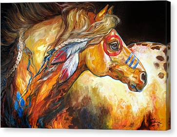 Indian War Horse Golden Sun Canvas Print by Marcia Baldwin