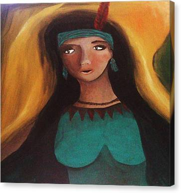 Indian Woman Canvas Print by Vickie Meza