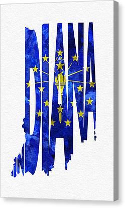 Indiana Typographic Map Flag Canvas Print by Ayse Deniz