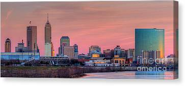 Indianapolis At Sunset Canvas Print by Twenty Two North Photography