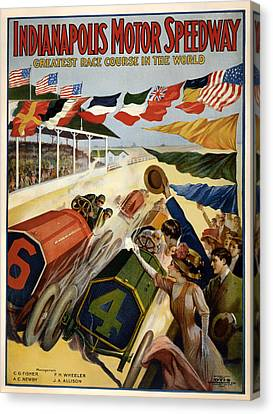 Indianapolis Motor Speedway - Vintage Lithograph Canvas Print by Mountain Dreams