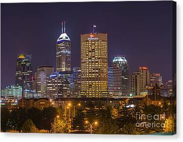 Indianapolis Night Skyline Echo Canvas Print by David Haskett