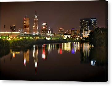 Indianapolis Skyline At Night Indy Downtown Color Panorama Canvas Print by Jon Holiday