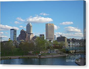 Indianapolis Skyline Blue 2 Canvas Print by David Haskett