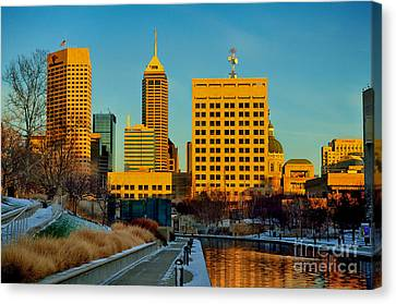Indianapolis Skyline Dynamic Canvas Print by David Haskett