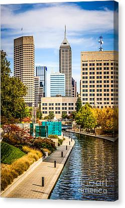 Indianapolis Skyline Picture Of Canal Walk In Autumn Canvas Print by Paul Velgos