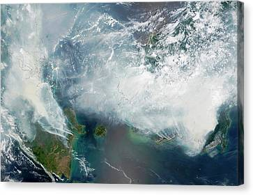 Indonesian Forest Fires Canvas Print by Nasa Earth Observatory/lance Modis Rapid Response