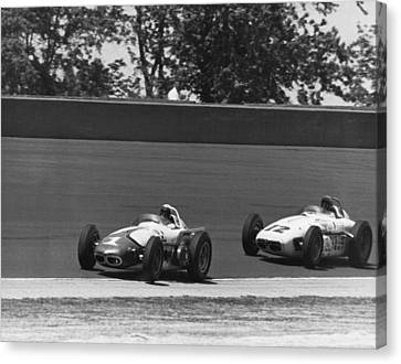 Indy 500 Race Cars Canvas Print by Underwood Archives