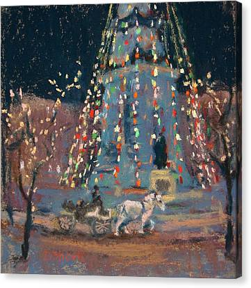 Indy Monument Lights Canvas Print by Donna Shortt
