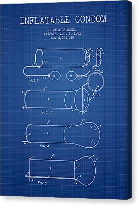 Inflatable Condom Patent From 1981 - Blueprint Canvas Print by Aged Pixel