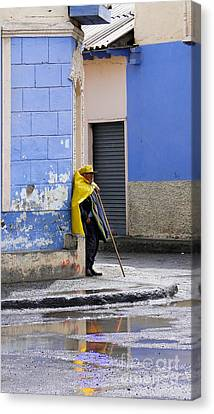 Information Man In Penipe Ecuador Canvas Print by Al Bourassa