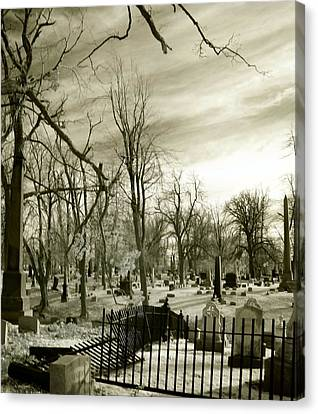 Infrared Cemetery Canvas Print by Gothicolors Donna Snyder