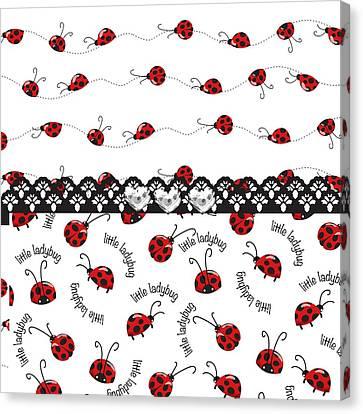 Innocent Ladybugs  Canvas Print by Debra  Miller