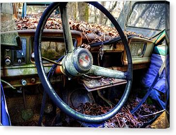 Inside An Old Jeep Canvas Print by Greg Mimbs