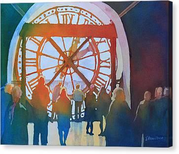 Inside Paris Time Canvas Print by Jenny Armitage