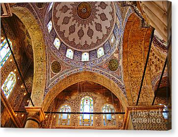 Inside The Blue Mosque Canvas Print by MaryJane Armstrong