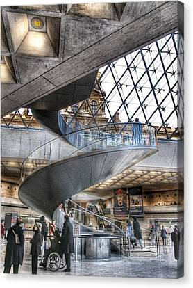 Inside The Louvre Museum In Paris Canvas Print by Marianna Mills