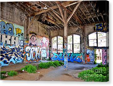 Inside The Old Train Roundhouse At Bayshore Near San Francisco And The Cow Palace II Canvas Print by Jim Fitzpatrick