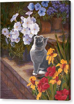 Inspecting The Blooms Canvas Print by Evie Cook