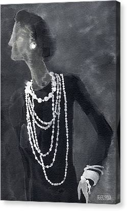 Inspired By Chanel Fashion Illustration Art Print Canvas Print by Beverly Brown