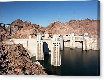 Intake Towers For The Hoover Dam Canvas Print by Ashley Cooper