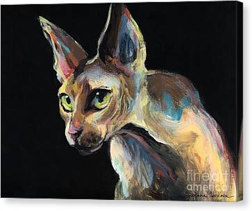 Intense Sphinx Sphynx Cat Art Painting Canvas Print by Svetlana Novikova