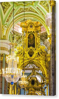 Interior - Cathedral Of Saints Peter And Paul - St Petersburg Russia Canvas Print by Jon Berghoff